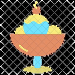 Ice Cream Scoops Flat Icon