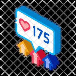 Increase Likes Isometric Icon
