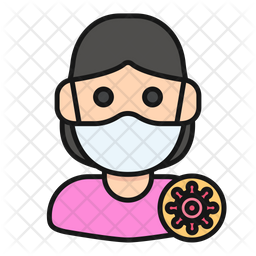Infected Lady Colored Outline Icon