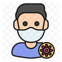 Infected Man Colored Outline Icon
