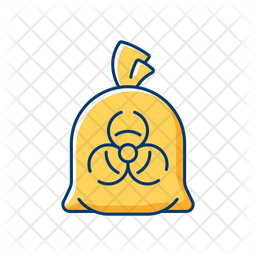 Infectious waste bag Colored Outline Icon