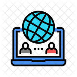 International Video Call Colored Outline Icon