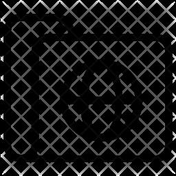 Internet folder data collection Line Icon