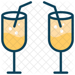 Juice Glass Colored Outline Icon
