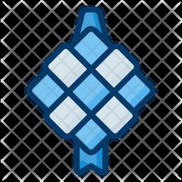 Ketupat Colored Outline Icon