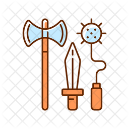 Knight weapons Colored Outline Icon
