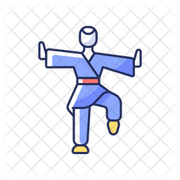 Kung Fu Colored Outline Icon