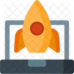 Launch, Rocket, Laptop, Startup Icon