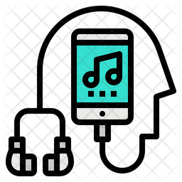 Listening Music Colored Outline Icon