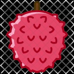 Litchi Colored Outline Icon