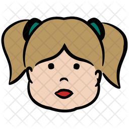 Little Girl Colored Outline Icon
