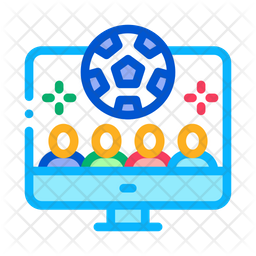Live Football Match Colored Outline Icon