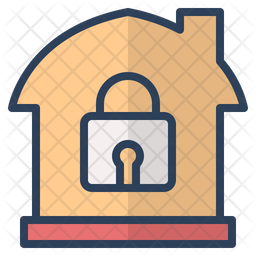 Lock Home Colored Outline Icon