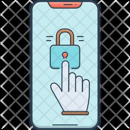 Lock Screen Colored Outline Icon
