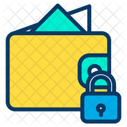 Lock Wallet Colored Outline Icon