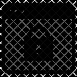 Lock webpage Glyph Icon