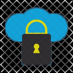 Locked Cloud Flat Icon