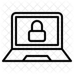 Locked Computer Line Icon