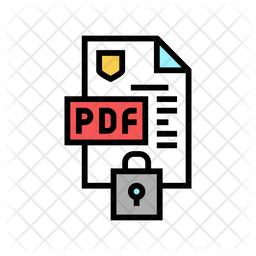 Locked Pdf File Colored Outline Icon