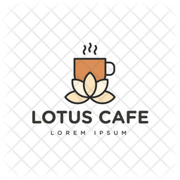 Lotus Cafe Colored Outline  Logo Icon