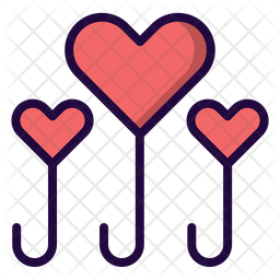 Love balloon Colored Outline Icon