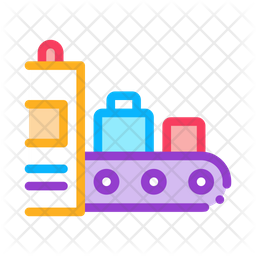 Luggage X Ray Machine Colored Outline Icon