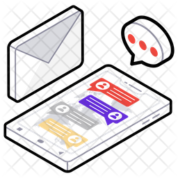 Mail Chat Isometric  Logo Icon