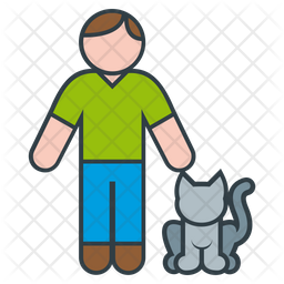 Man and Cat Icon