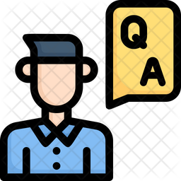 Man Q N A Colored Outline Icon