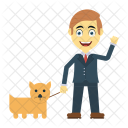 Man with pet Flat Icon