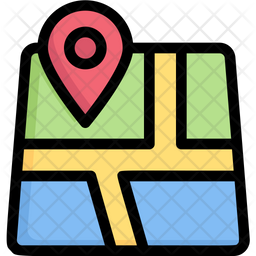 Map Gps Colored Outline Icon