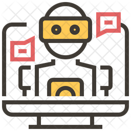 Mechanical Robot Colored Outline Icon