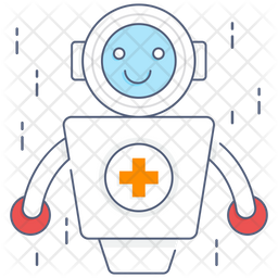 Medical Robot Colored Outline Icon