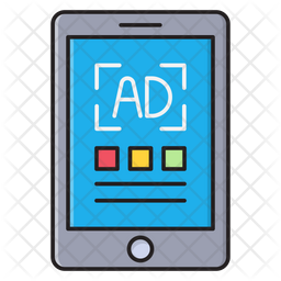 Mobile Advertisement Colored Outline Icon