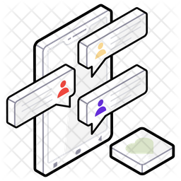 Mobile Chat Isometric  Logo Icon