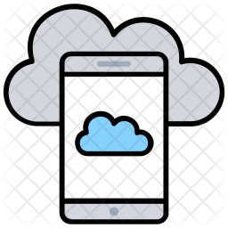 Mobile Cloud Colored Outline Icon