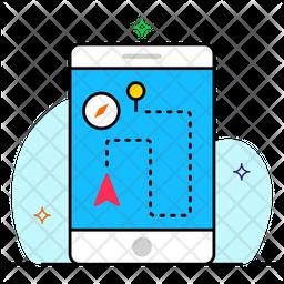 Mobile location Colored Outline Icon