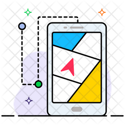 Mobile Navigation Colored Outline Icon