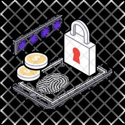 Mobile Security Isometric Icon