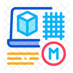 Modeling Building Materials Colored Outline Icon