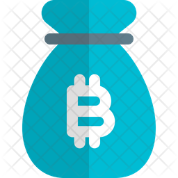 Money Bag Bitcoin Flat Icon