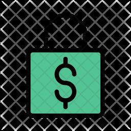 Money Lock Colored Outline Icon