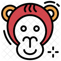 Monkey Face Colored Outline Icon