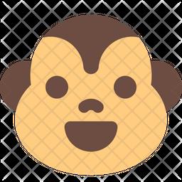 Monkey Smiling Flat  Emoji Icon