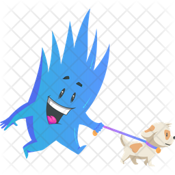 Monster With Pet Dog Sticker Icon