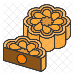 Mooncake Colored Outline Icon