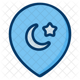 Mosque Location Colored Outline Icon