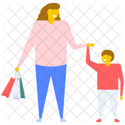 Mother and Kids Shopping Icon