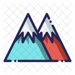 Mountains Colored Outline Icon