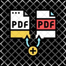 Multiple Pdf File Colored Outline Icon